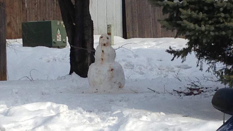 Nightmare snowman outside of apartment